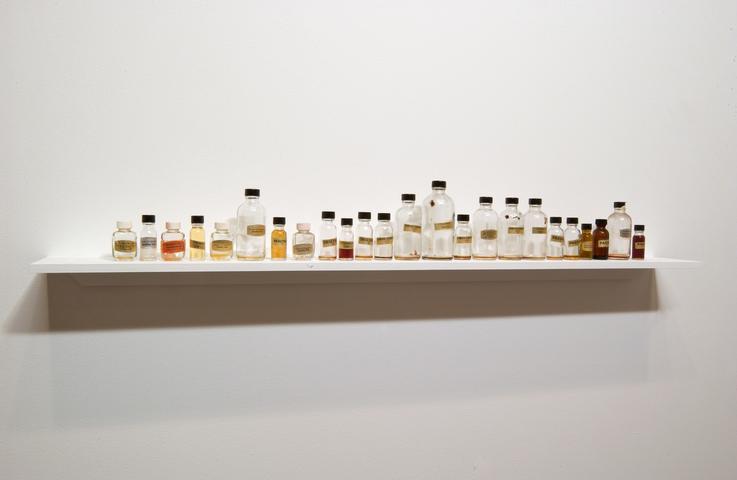 Pathologies (1994) 24 bottles and perfume 5.5h x 46w x 7.5d in (14h x 117w x 19d cm)
