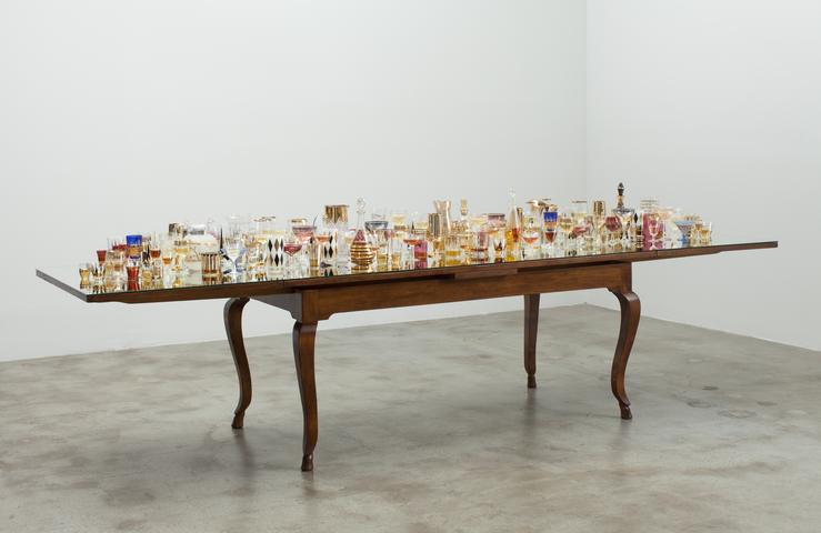 Finale (2013) Antique table, mirror, antique glasses and liquor 31h x 132w x 36.25d in (78.7h x 335.3w x 92.1d cm)