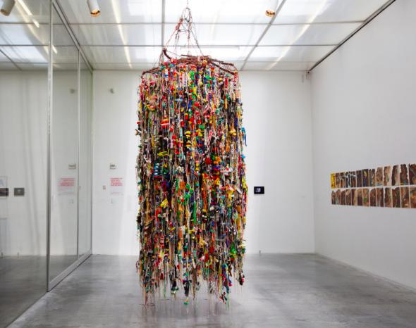 Hassan Sharif; Suspended objects (2011), mixed media Installation view Here and Elsewhere (2014); New Museum