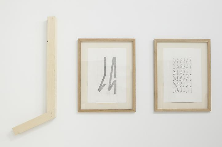 Hassan Sharif Six points Angular lines - Part 1 (2013) Pencil on paper; wood, glue, and nails; dimensions variable