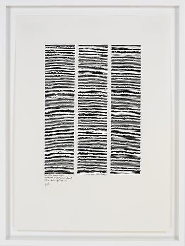 Wave-like and Straight Horizontal No. 1-3 (2007) Ink on paper 23.03h x 16.54w in (58.5h x 42.01w cm)