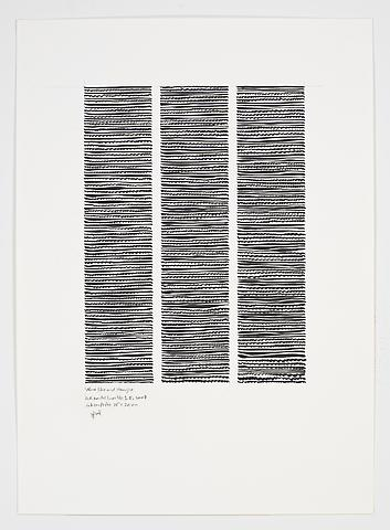 Wave-Like and Straight Horizontal No. 1-5 (2007) Ink on paper 23.03h x 16.54w in (58.5h x 42.01w cm)