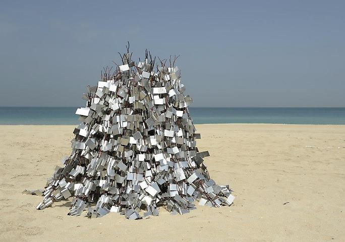 Hassan Sharif, Weave 2 (2012) Aluminum and copper wire; 66.93h x 78.74w x 78.74d in Installation view, Sculpture on the Beach, Art Dubai 2013