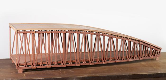 First Bridge (1968) Stained balsa wood 10 x 15 x 44 in (25.4 x 38 x 112 cm)