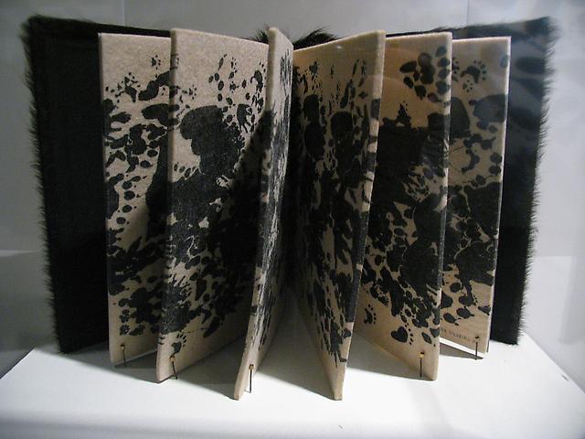 Regina Silveira; Wild Book (1997); Silkscreen on felt, animal fur; 11h x 10.25w x 1.75d in (27.94h x 26.04w x 4.45d cm) Stanlee and Gerald Rubin Center for the Visual Arts at The University of Texas at El Paso (2011)