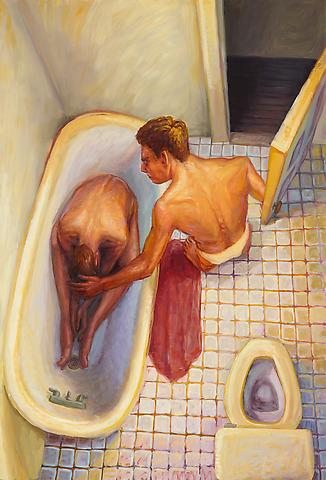 Door to Tub (c. 1989-90) Oil on canvas 65.13h x 44w in (165.43h x 111.76w cm)