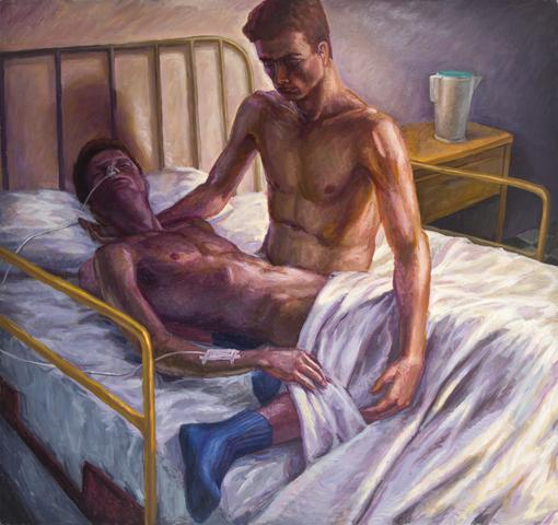 Hugh Steers Hospital Bed (1993) Oil on canvas, 61.3 x 65.1 in (155.7h x 165.35w cm)