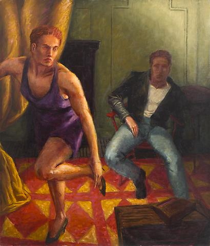 Purple Velvet Dress (1989) Oil on canvas 54.75h x 46.25w in (139.07h x 117.48w cm)