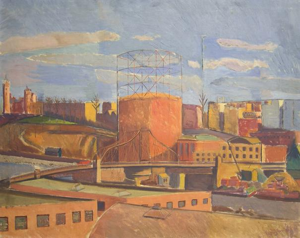 Harlem River Landscape (1932) Oil on canvas 25h x 30w in (63.5h x 76.2w cm)