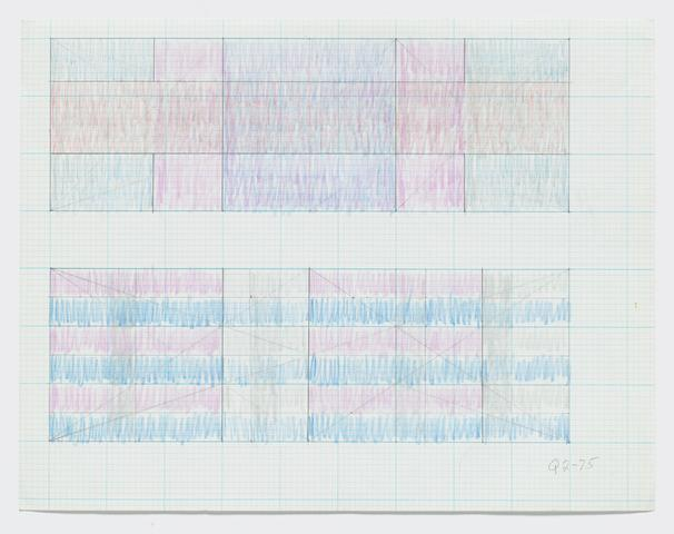 "Q2-75 (Two sketches for ""Triptych""), 1975 Graphite and colored pencil on paper 8.5h x 11w in (21.59h x 27.94w cm)"