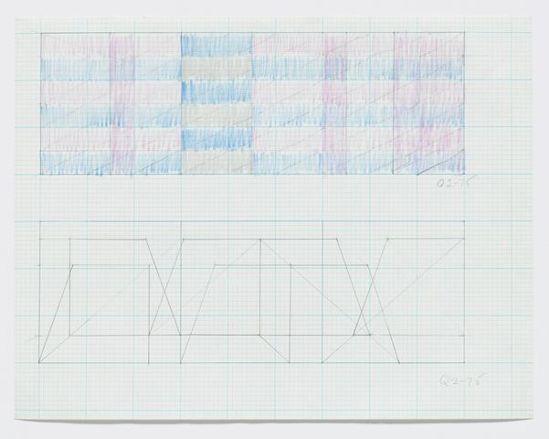 "Q2-75 (Two sketches for ""Triptych""), 1975 Graphite and colored pencil on graph paper 8.5h x 11w in (21.59h x 27.94w cm)"