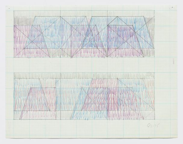 "Q2-75 (Two sketches for ""Triptych"") (c. 1975) Colored pencil and graphite on graph paper 8.5h x 11w in (21.59h x 27.94w cm)"