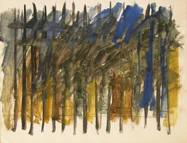 "Related to ""West 23rd"" (c. 1963) Watercolor and pencil on paper 9.5h x 12.75w in (24.1h x 32.4w cm)"