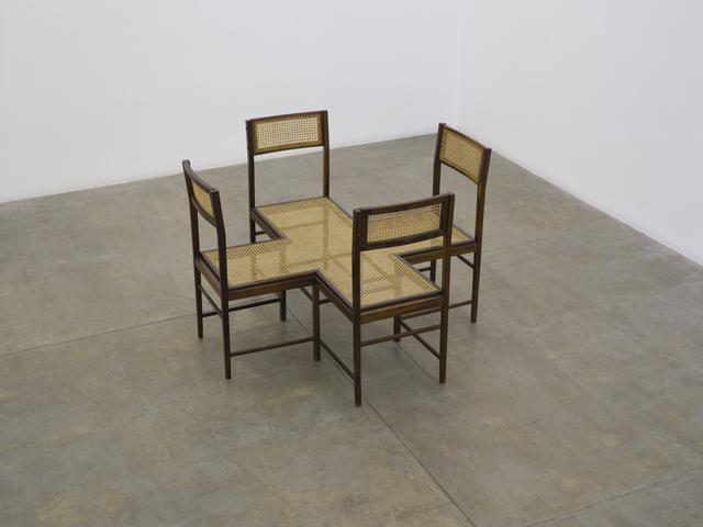 Lugar Comum (2016) Vintage wood chairs and caning 34.5 x 51w x 51d in (87.5h x 130w x 130d cm)