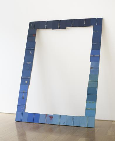 Threshold (Blue) (2014) Vintage hardcovers mounted on wooden frame with linen backing 97h x 71.5w in (246.4h x 181.6w cm)