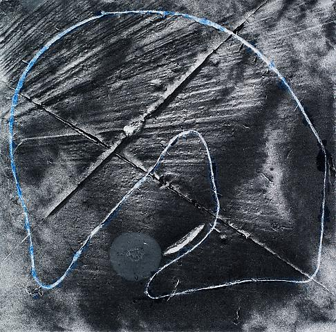 Virgin Space, Loop #19 (2012) Acrylic and black CAT on canvas 12h x 12w in (30.48h x 30.48w cm)