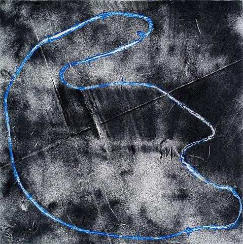 Loop #22 (2012) Acrylic and black CAT on canvas 8h x 8w in (20.32h x 20.32w cm)