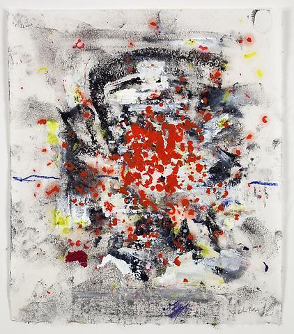 Phoenix 4 (2011) Oil stick on rice paper 9.25h x 8.5w in (23.5h x 21.59w cm)