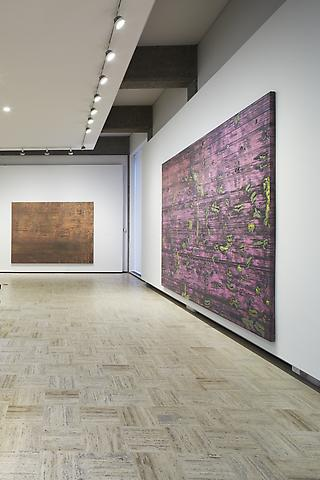left: The Eighth Furrow (1973); right: Asa's Palace (1973) Rose Art Museum (2013); installation view