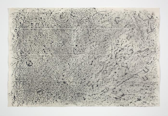Jack Whitten; Studio Floor #1 (1970) Carbon stick rubbing on paper 13h x 20w in (33.02h x 50.8w cm)