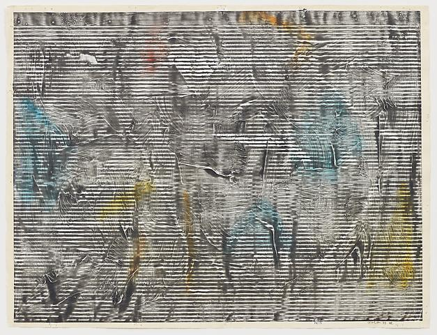 Jack Whitten Study for Greek Alphabet Series #3 (1977) Graphite, colored pencil, and whiting on paper; 17h x 19.5w in (43.2h x 49.5w cm)