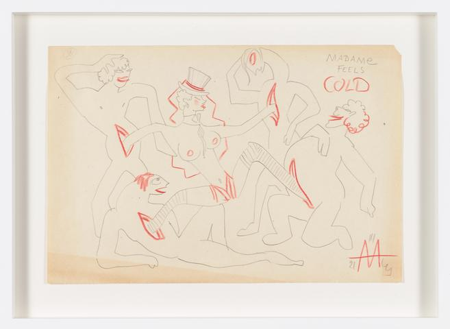 Untitled (1943) Colored pencil on paper 7.83h x 11.65w in (19.9h x 29.6w cm)