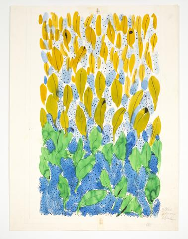 "Untitled, from the ""Leaves"" series (n.d.) Watercolor and ink on paper  24h x 18w in (61h x 45.7w cm)"