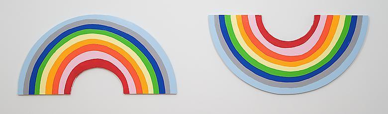 Sad Rainbow, Happy Rainbow (2007) Latex enamel on wood 24h x 106w in (60.96h x 269.24w cm)