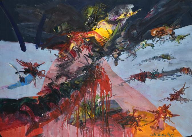 New York Battle Ground (1967) Oil on canvas 60h x 83.9w in (152.4h x 213.1w cm)