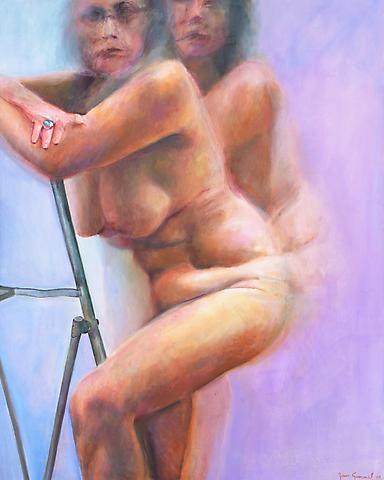 Step-Ladder (2008) Oil on canvas 60h x 48w in (152.4h x 121.92w cm)