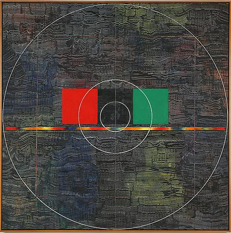 Jack Whitten Red, Black, Green (1980) Acrylic on canvas; 64h x 64w in (162.56h x 162.56w cm)