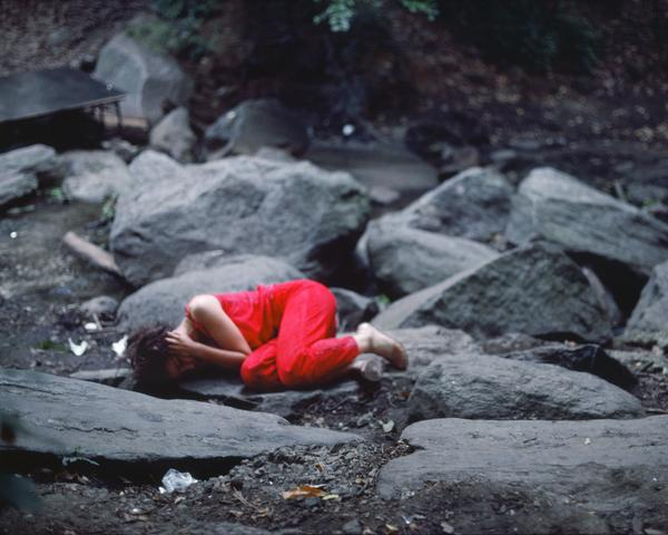 Rivers, First Draft: The Teenager curls up in a fetal position (1982/2015) Digital C-print from Kodachrome 35mm slides in 48 parts, 16h x 20w in (40.6h x 50.8w cm) Edition of 8 with 2 AP
