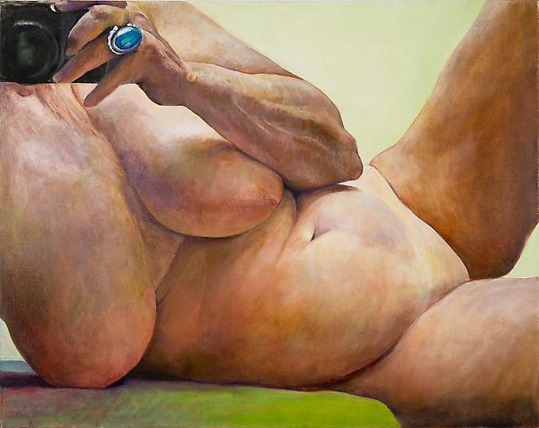 Recline (2005) Oil on canvas 40h x 58w in (101.6h x 147.32w cm)