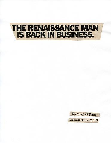 Cutting Out The New York Times, The Renaissance is Back in Business (1977) Part 1 of 11, Toner ink on adhesive paper 11.02h x 7.87w in (27.99h x 19.99w cm)
