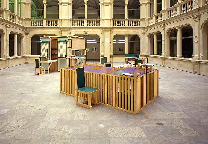 Sacco and Vanzetti Reading Room No. 1 (1987-94) Painted wood Dimensions variable