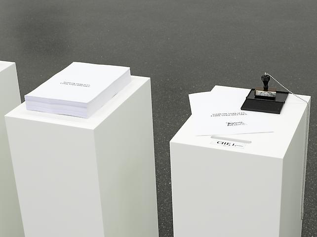 Selbstbedienung (Autoservicio, Self-Service) (1996) Photocopies, rubber stamp, ink pad and seven wooden bases Dimensions variable