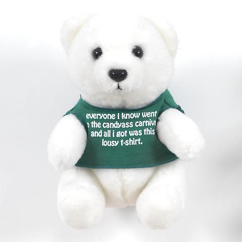Bear (Green)  (1991) Stuffed toy bear 6.88h x 5.63w x 5d in (17.48h x 14.3w x 12.7d cm)