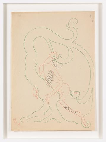 Untitled (1936) Color pencil on paper 16.38h x 11.42w in (41.6h x 29w cm)