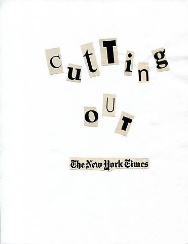 Cutting Out The New York Times (1977) Toner ink on adhesive paper 11.02h x 7.87w in (27.99h x 19.99w cm)