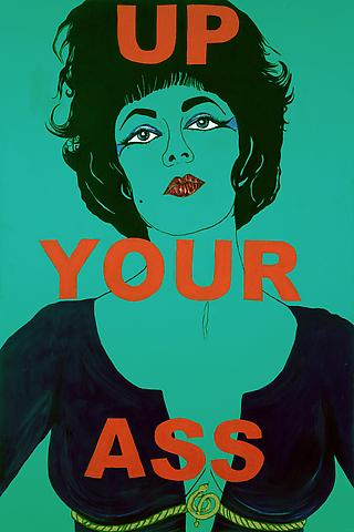 Up Your Ass: from the Liz Taylor Series (Cleopatra) (2006) Acrylic and mixed media on canvas  90h x 60w in (228.6h x 152.4w cm)