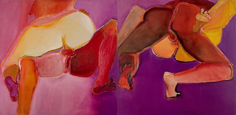 Joan Semmel Flip-Flop Diptych (1971) Oil on canvas: Diptych; 68h x 136h (172.72 x 345.44w)