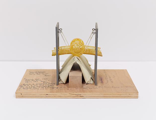 Tomb for Walt Whitman (2010) Wood, plastic, cardboard, canvas, eye bolts, string, paint 7.75h x 14w x 8d in (19.7h x 35.6w x 20.3d cm)