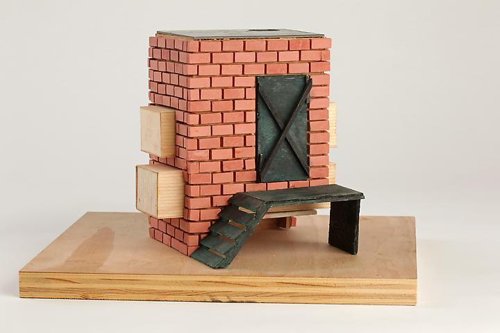 Tomb for Sacco and Vanzetti (2008) Wood, terra cotta, balsa wood, plastic, paint 7h x 10.75w x 9.13d in (17.8h x 27.3w x 23.2d cm)