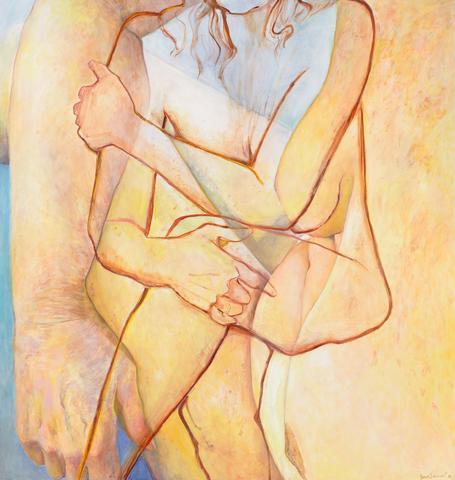 Double Embrace (2016) Oil on canvas  72h x 68w in (182.9h x 172.7w cm)