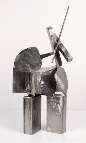Zim OK (Working in Zimbabwe) (1996) Stainless steel 41.25h x 20w x 11d in (104.8h x 50.8w x 27.9d cm)