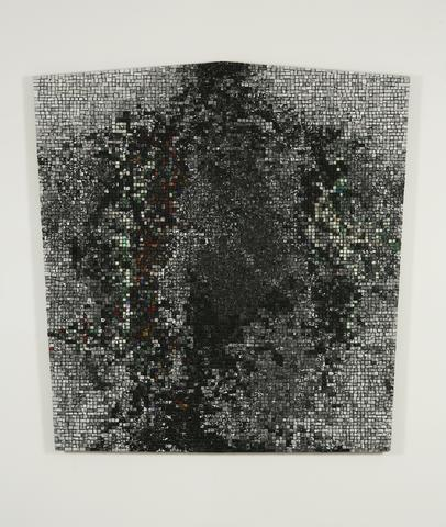Black Monolith III: For Barbara Jordan (1998) Acrylic collage on canvas 69h x 65.5w in (175.3h x 166.4w cm)
