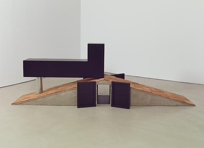 Tomb for Neema (2012) Concrete, wood, shingles, paint 55h x 168w x 60d in (139.7h x 426.7w x 152.4d cm)