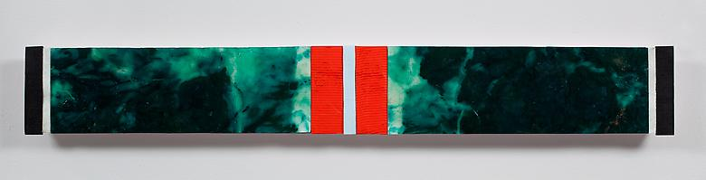 Ribbons of Honor #2  (2009) Acrylic collage on panel  5h x 36w in (12.7h x 91.44w cm)