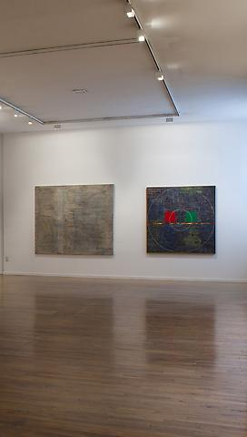 Jack Whitten; Khee II, Red Black Green (from left to right) The Comfort of Strangers (2010) Installation view; MoMA PS1