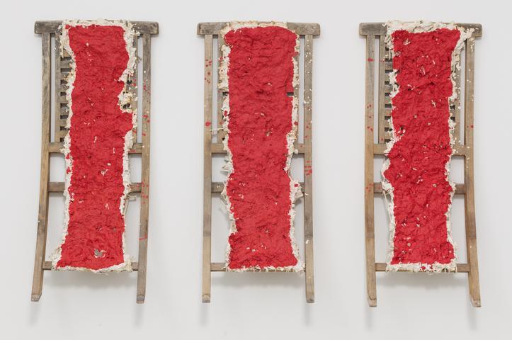 Cadmium Red (2014) Mixed media 38.58h x 64.96w x 1.57d in (98h x 165w x 4d cm)